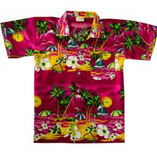 Boys Girls Beach Palm Tree Hawaiian Shirts