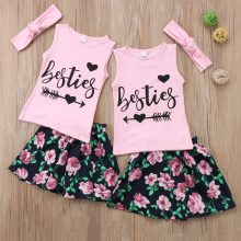 Baby Little Big Sister Girls Besties Tanks Floral Skirt Matching Summer Outfits