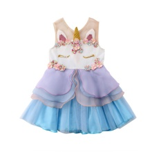 Toddler Girl 3D Unicorn Ruffle Summer Tutu Dress