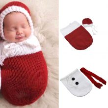 Twin baby boy girl Santa clause Snowman Knitted Swaddle wrap for Birthday Pictures