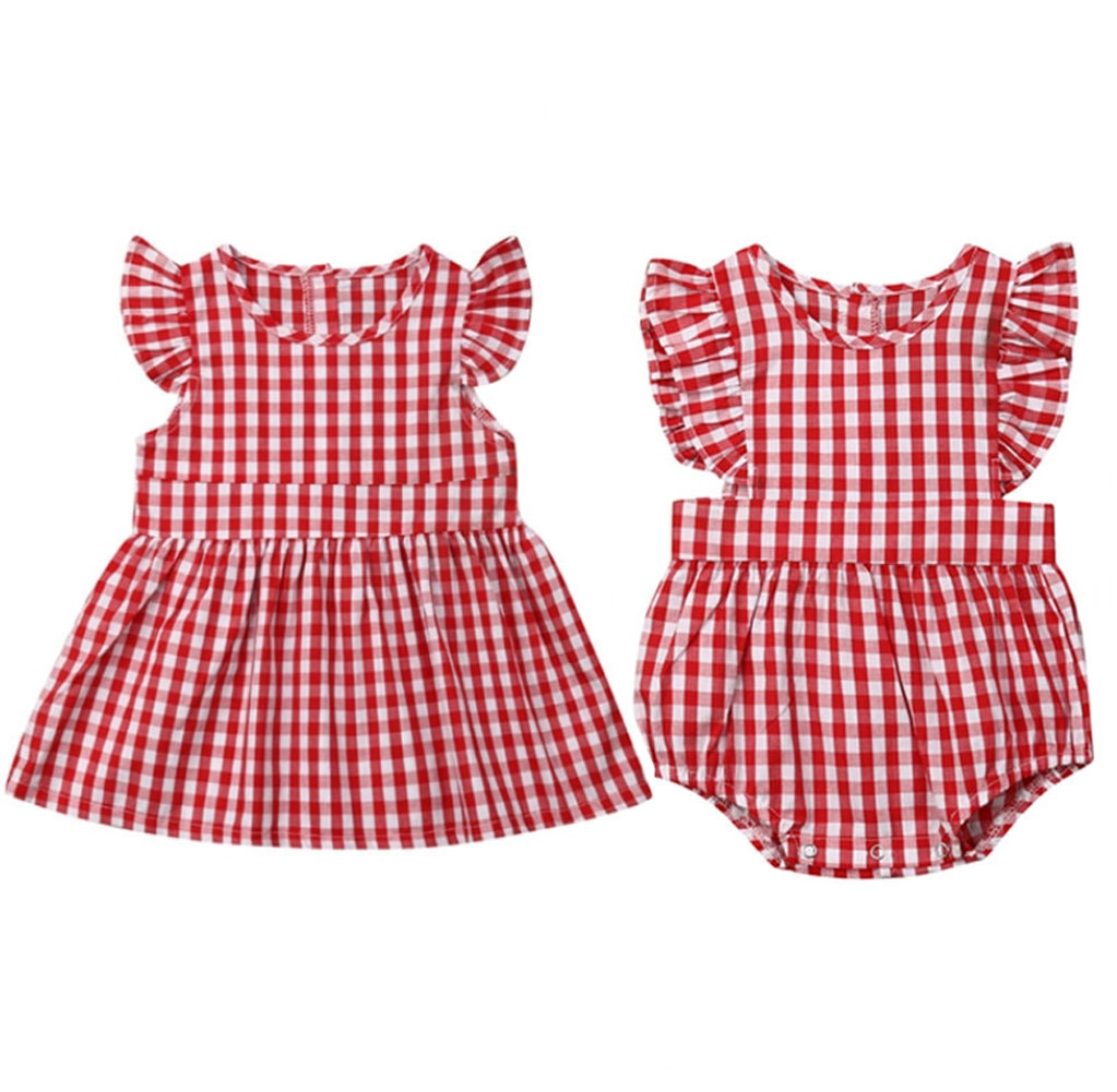 summer sister matching gingham plaid dress